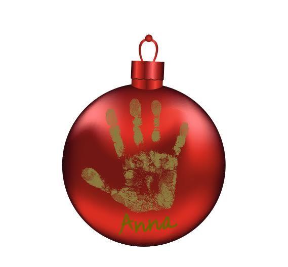 Julekugle med håndaftryk