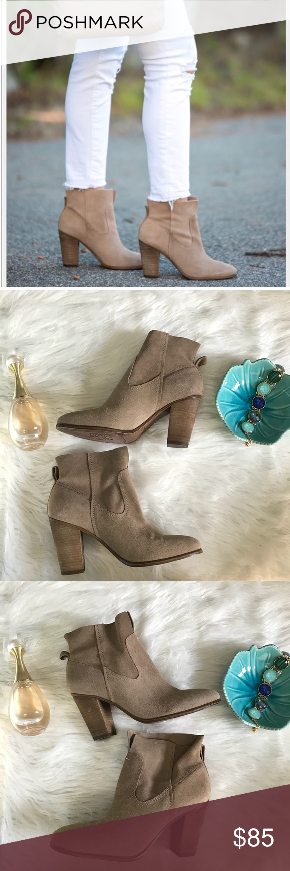 """c3f7b0c1094 Vince Camuto Feina Suede Bootie NWOT 👗 new without box 👗 from a smoke  free and pet friendly home 👗 next day shipping 📫 👗 approx 3"""" heel Vince  Camuto ..."""