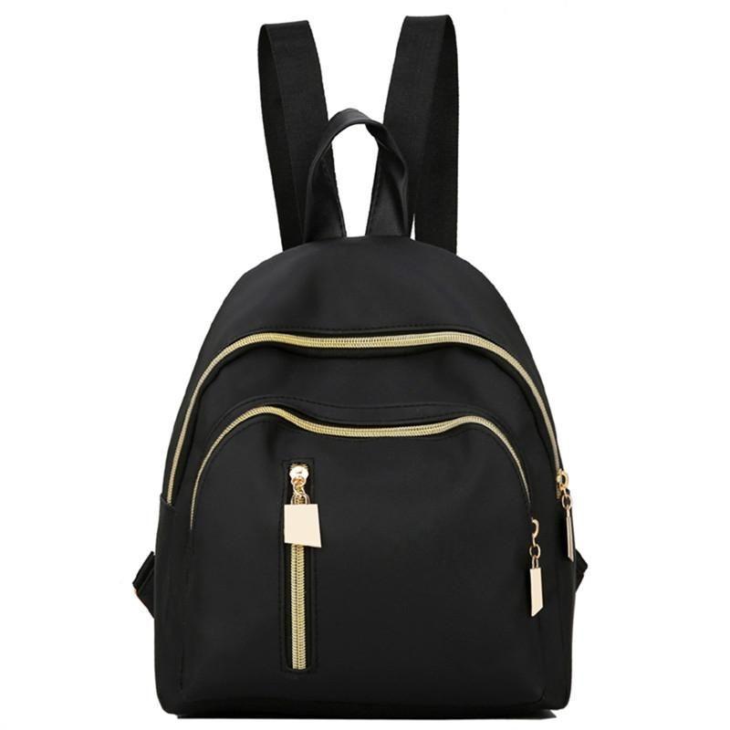 1958a09206 Korean Style Nylon Waterproof Women Shoulder Bag Fashion Portable Lady  Handbag Casual Backpack for Teenage Girls (Black)
