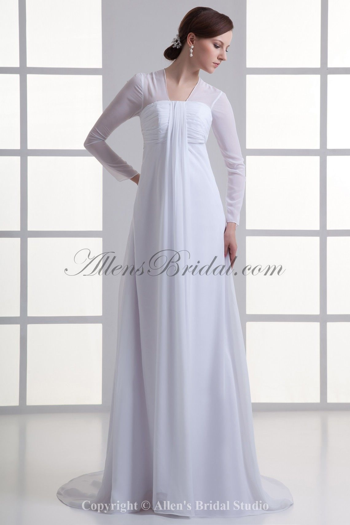 Maternity casual wedding dress  Allens Bridal  Chiffon Square Empire Sweep Train Long Sleeves
