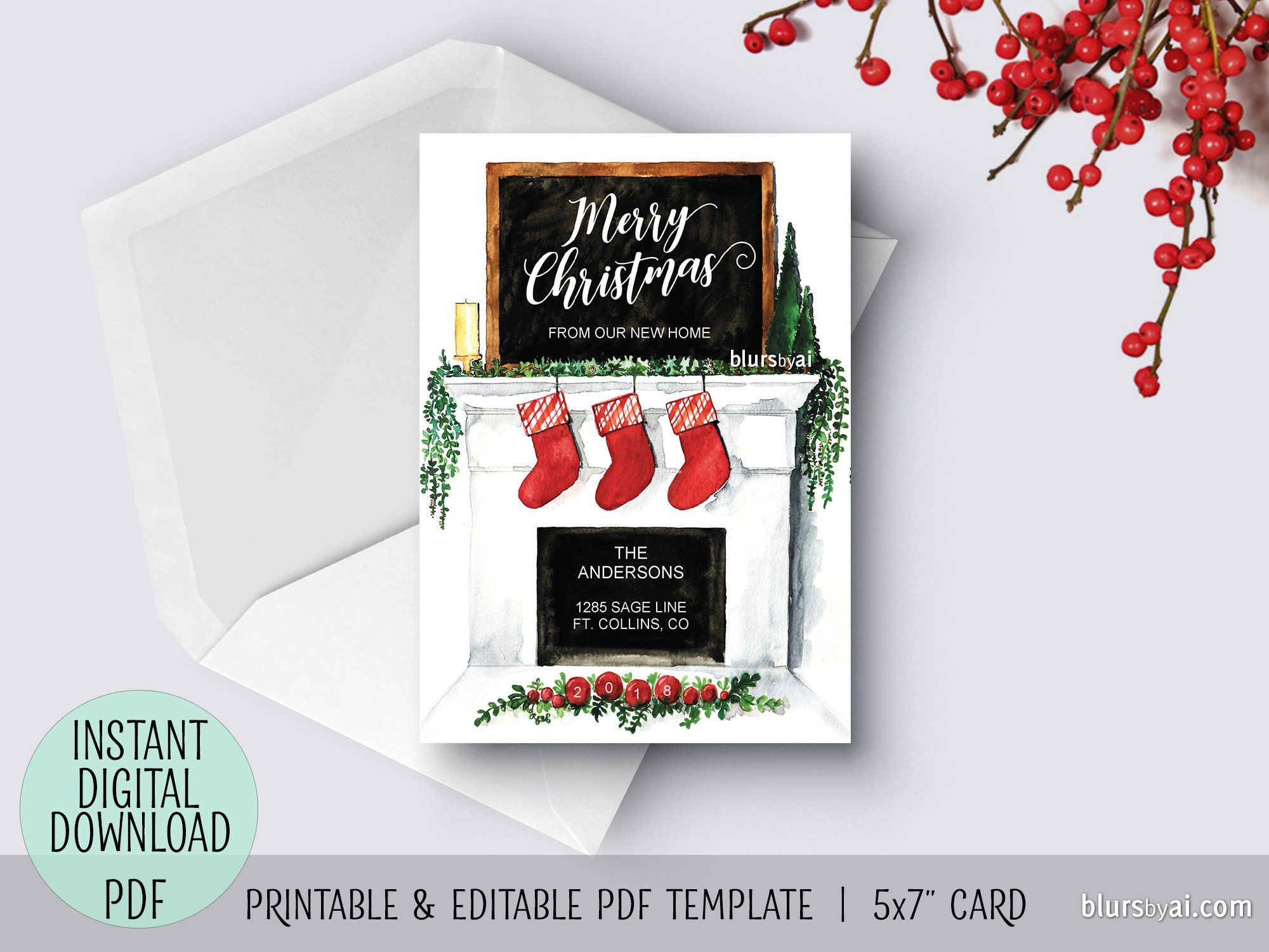 Editable Pdf Christmas Card Template New Home Watercolor Fireplace Mantel Christmas Card Template Christmas Cards Card Template
