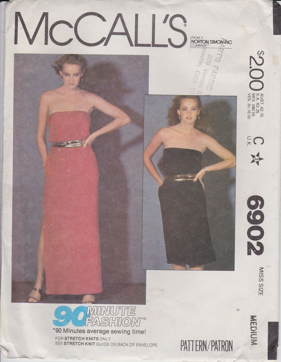 70s Tube Top Dress Sewing Pattern Sundress Strapless Dress Pattern ...
