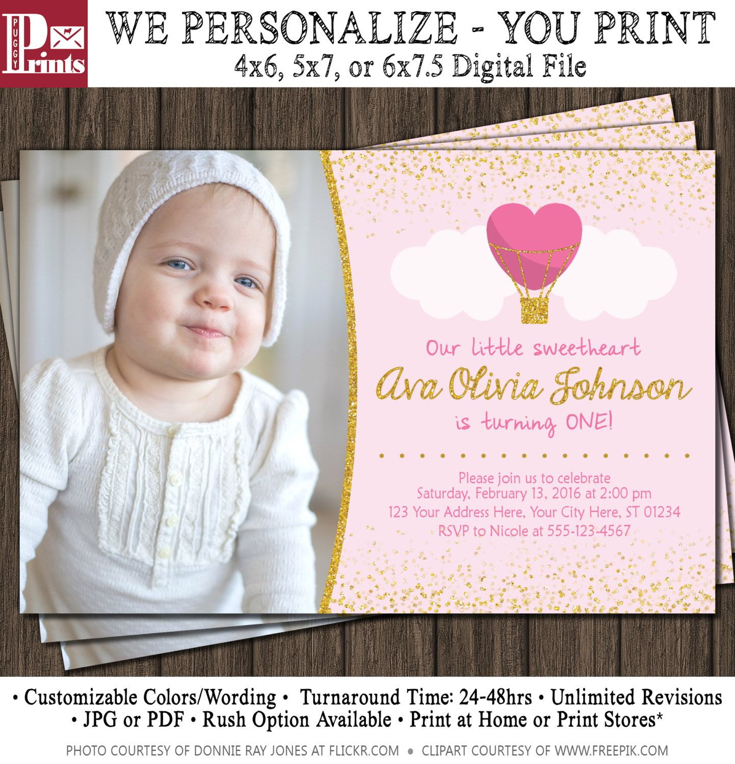 Valentine Birthday Invitation   Valentines First Birthday Invitations By  PuggyPrints On Etsy