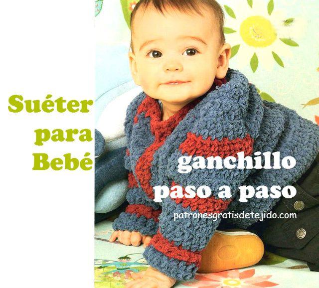 sueter de bebe paso a paso a ganchillo | Crochet y Dos Agujas ...