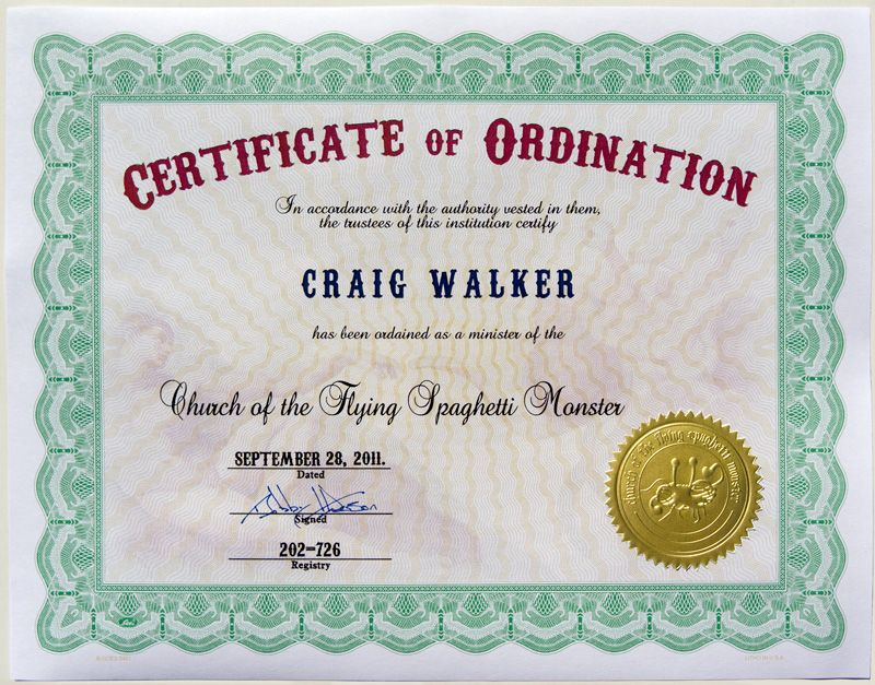 Certificate of Ordination of the Church of the Flying Spaghetti - best of ordination certificate free