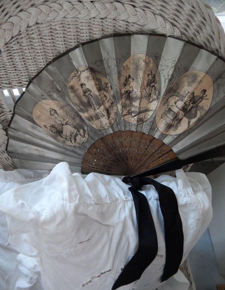 Beautiful Large Antique Victorian Lady's Folding Fan Four