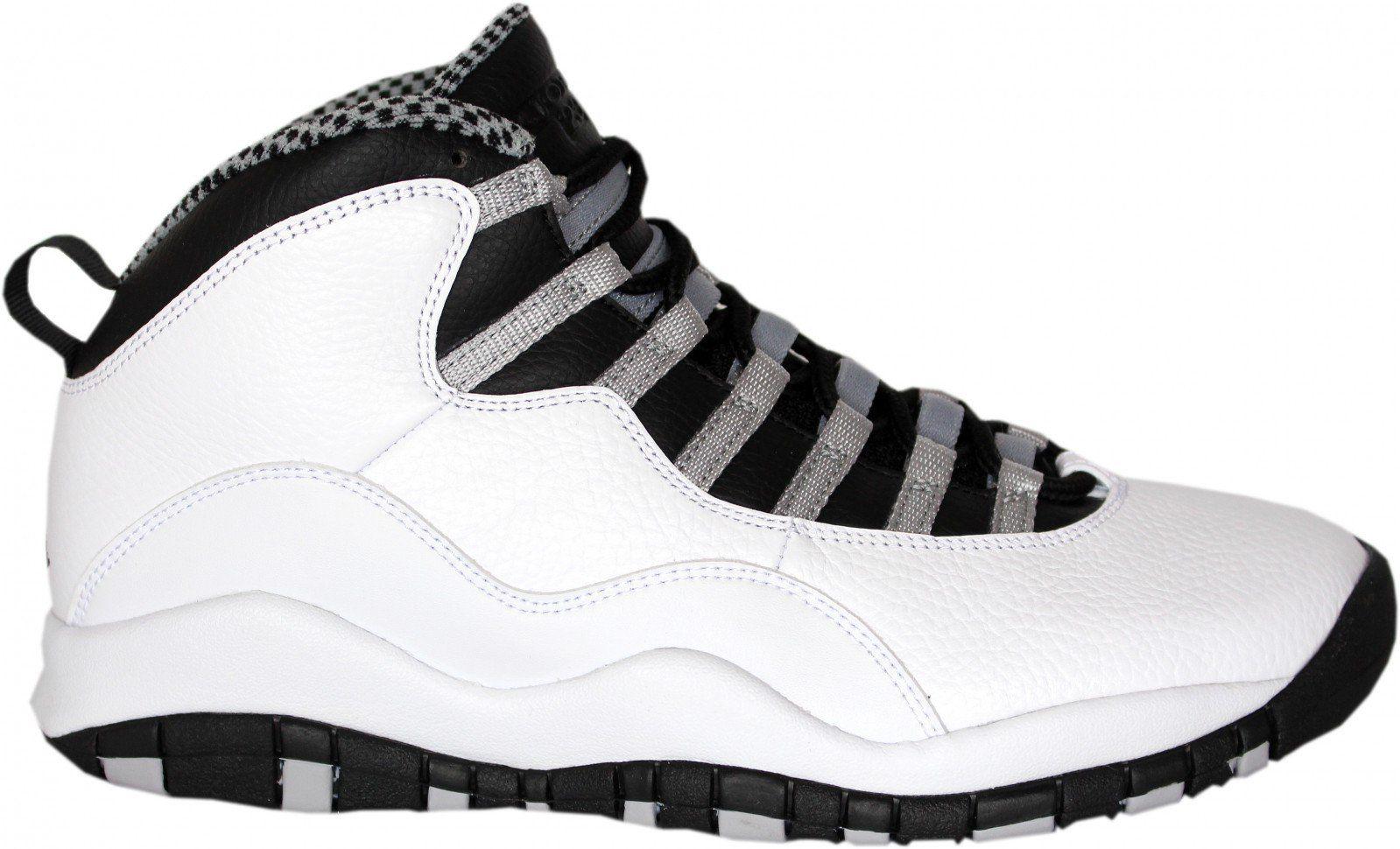 14d2d608795 Nike Mens Air Jordan Retro 10 Basketball Shoes White  Black Steel  Grey Varsity