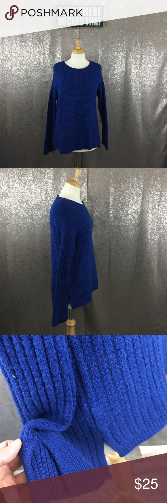 Ann Taylor high low tunic slit sleeve sweater In excellent preowned condition Ann Taylor Sweaters Crew & Scoop Necks
