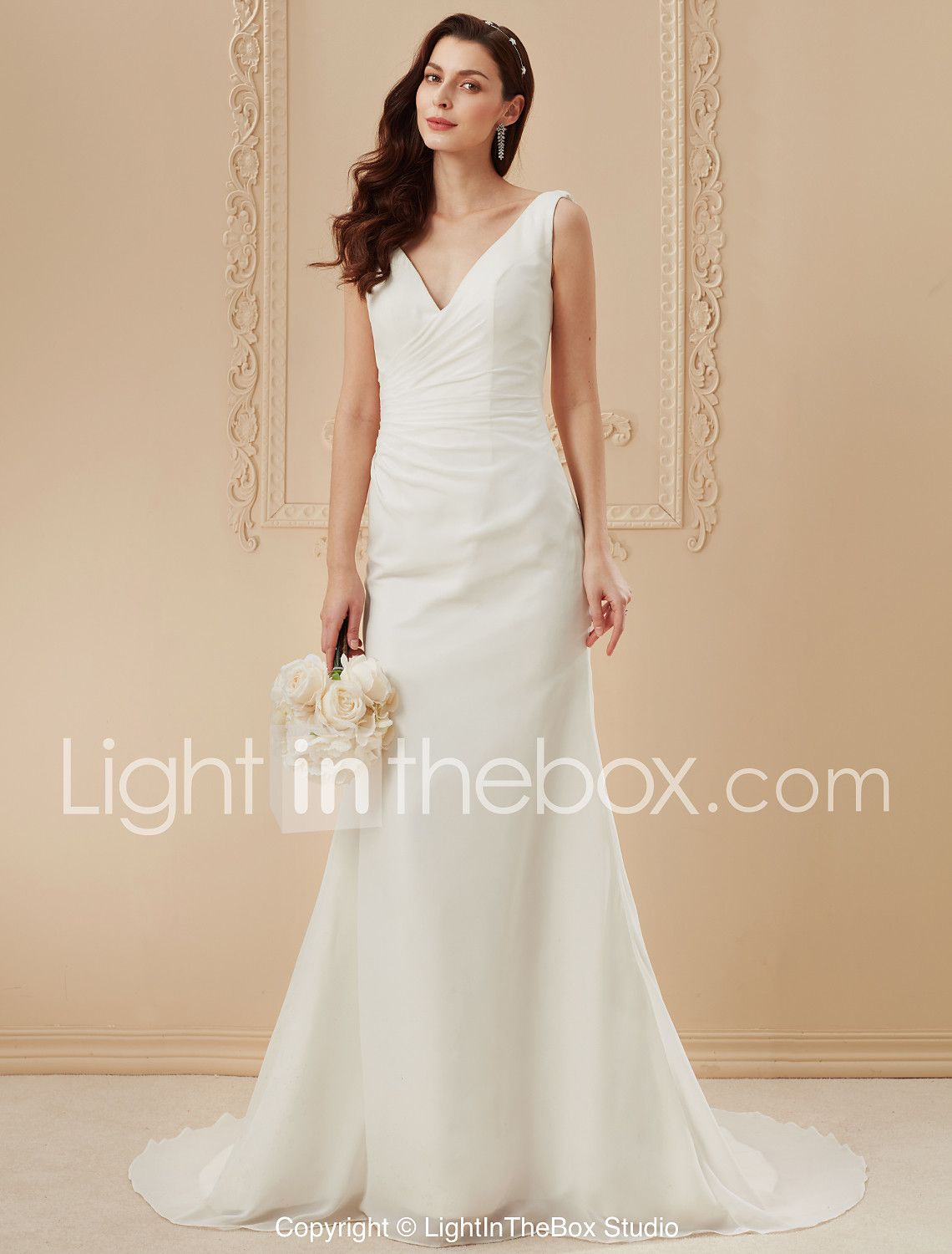 d04e864186 Sheath   Column Plunging Neckline Court Train Chiffon Over Satin Custom Wedding  Dresses with Side-Draped by LAN TING BRIDE® 518934 2018 –  123.49