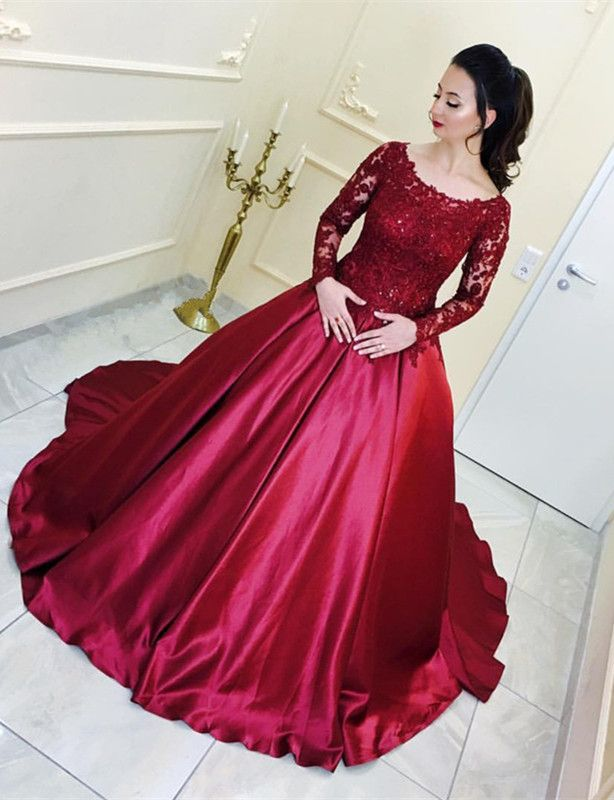 Burgundy Satin Ball Gown Wedding Dresses Lace Long Sleeves In 2019