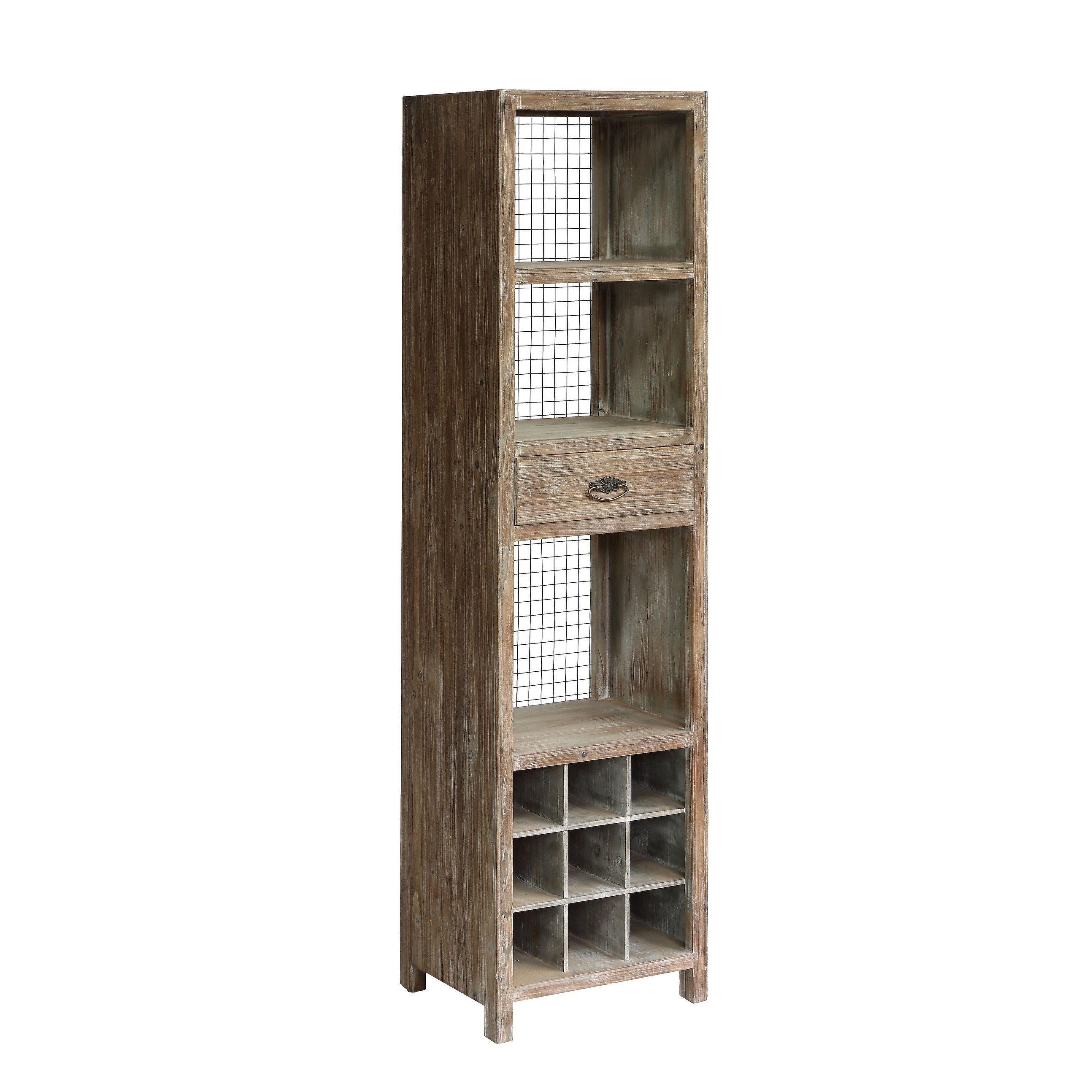 Desoto Wood 1 drawer Wine Cabinet Grey Brown