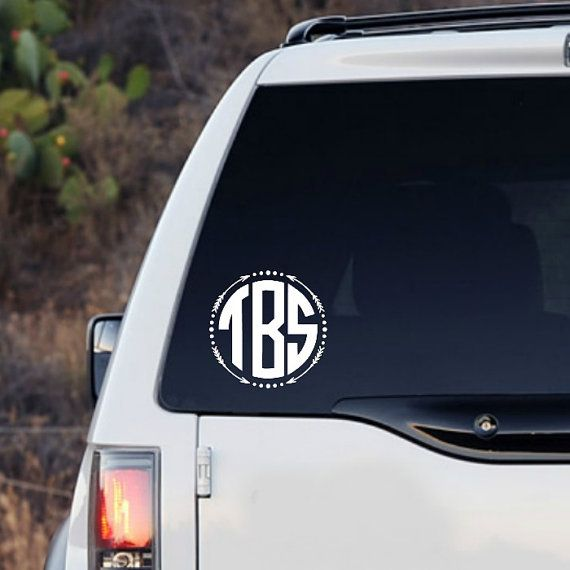 Arrow Circle Monogram Decal Sticker Monogram Car By KrazeDesignss - Monogram car decal sticker