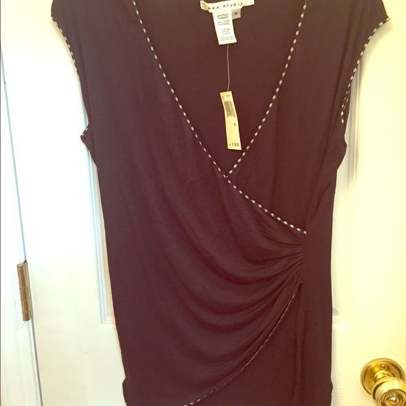 Max studio black sleeveless crossover too sz med NWT! Very comfortable and soft material. Original retail $58 Measurements are taken with the top lying flat and unstretched Bust approx 38 inches  Length approx 25.5 inches   Check out my other listings! Max Studio Tops Blouses