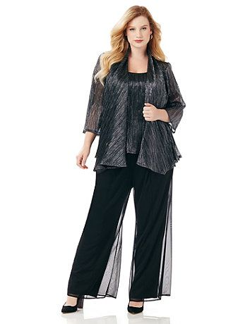 59360608612d Our softly shimmering pantsuit is perfect for your most special occasions.  This two-piece style evokes the beauty of a night sky with textured  metallics in ...