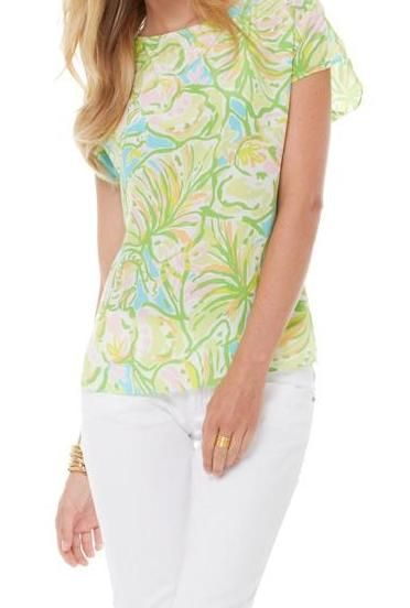 Lilly Pulitzer Elephant Ear Print Guava Top Spring