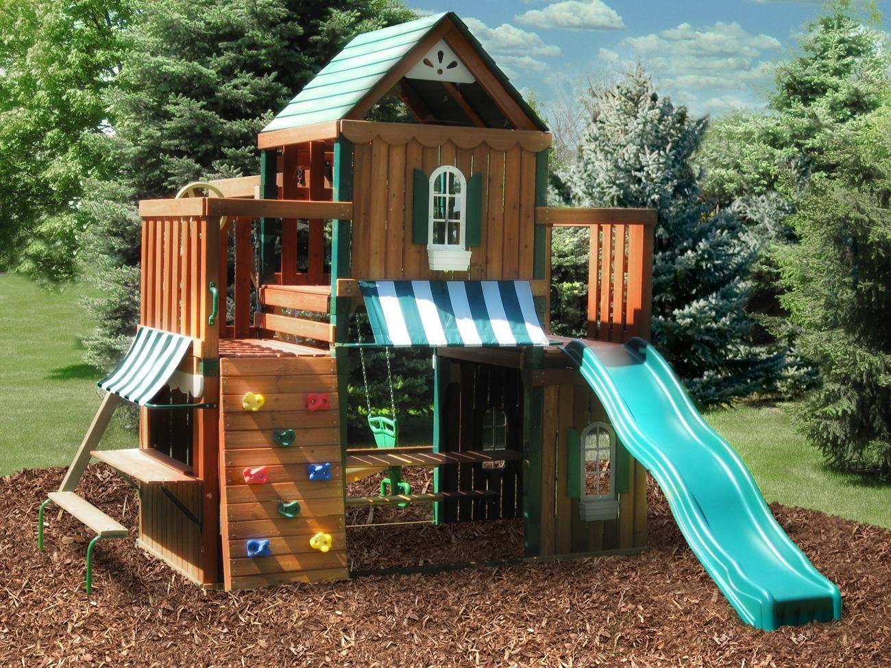 juneau wood complete playset kit swing n slide play