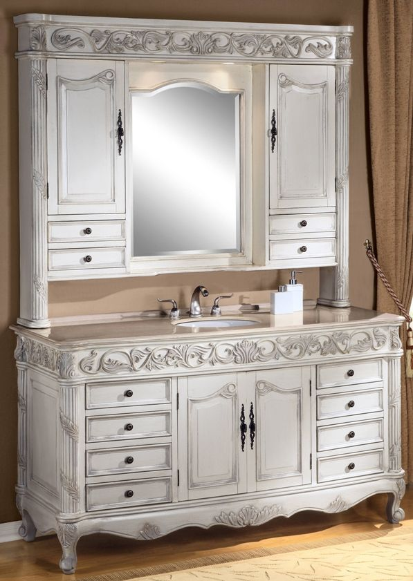 Antique bathroom vanities made from hutches vanity for Single vanity bathroom ideas