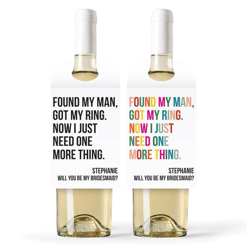 Personalized Wine Bottle Neck Hang Tags One More Thing Shop On Weddingwire Personalized Wine Bottles Wine Bottle Bottle