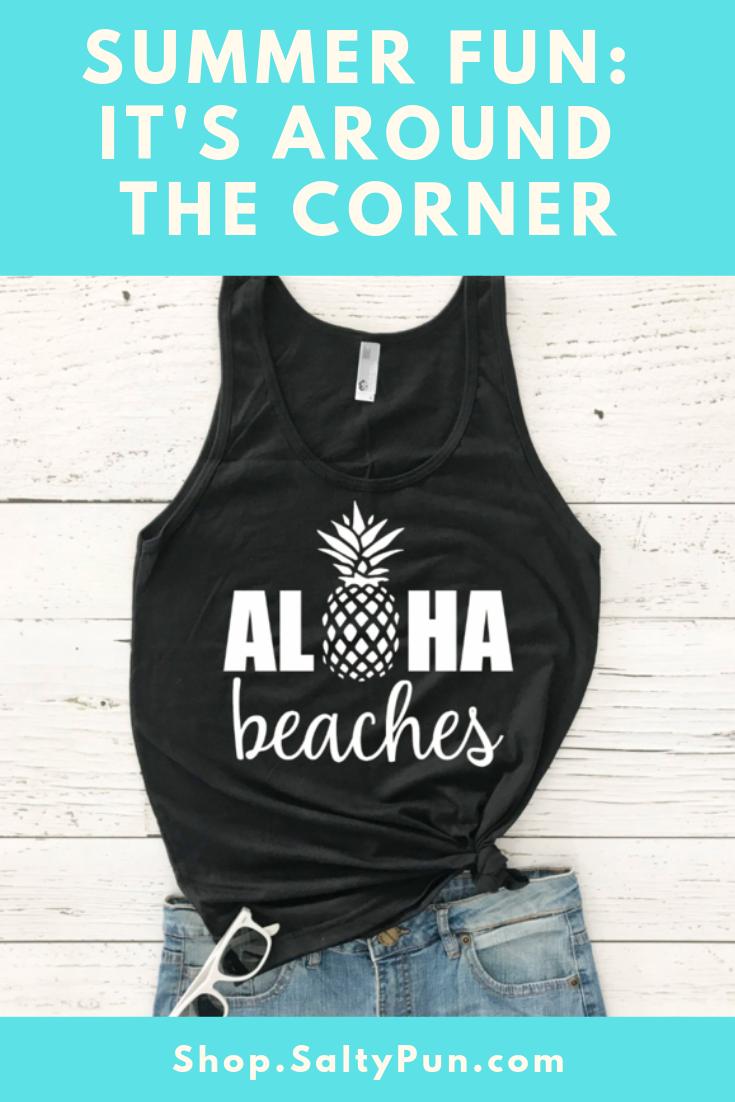 4e5c3c9cea Aloha Beaches' Funny Beach Pun Tank Top | Puns and Humor Memes ...