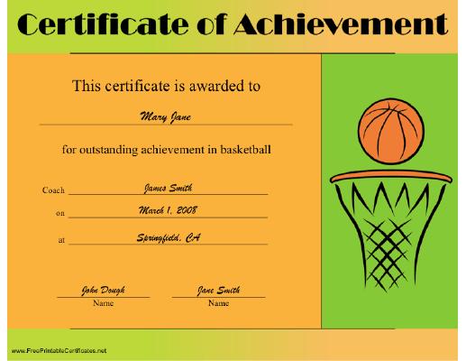 Basketball Achievement Certificate Printable Certificate Printable Certificates Free Printable Certificates Certificate