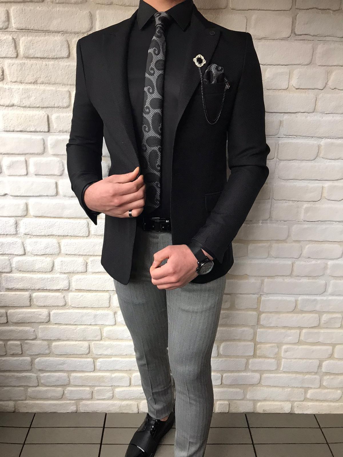 Fremont black slim fit wool blazer in 2020 african men