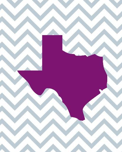 purple texas on gray chevron background 8x10 by