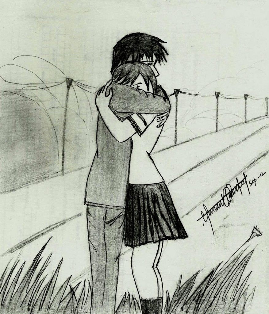 Pencil Sketch In Love Couple