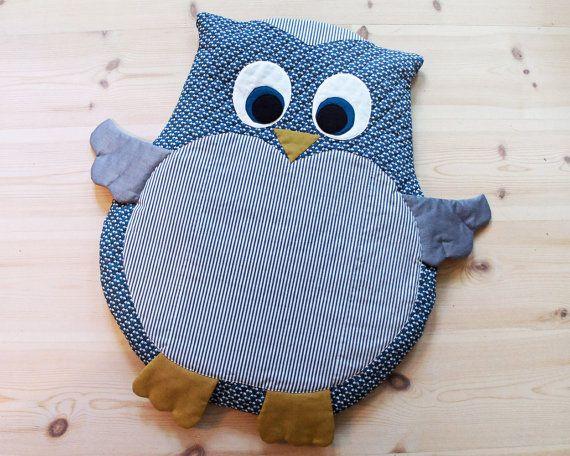 owl baby mat play mat floor cushion diy tutorial pdf sewing pattern instant
