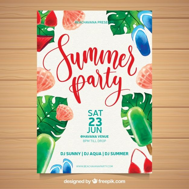 Photo of Summer Party Invitation With Beach Elements   Download now free vectors on Freepik