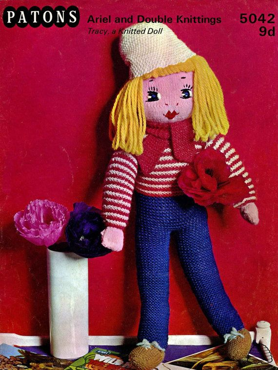 Patons 5042 Vintage Soft Toy Knitting Pattern 28 Rag Doll And