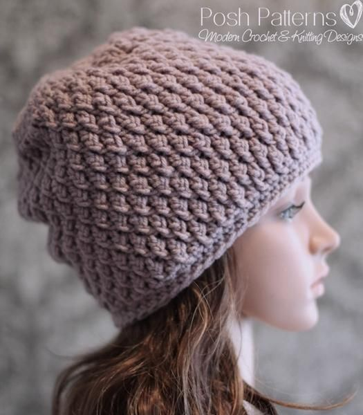 Crochet PATTERN - Cable Crochet Slouchy Hat Pattern | Lindo y Patrones