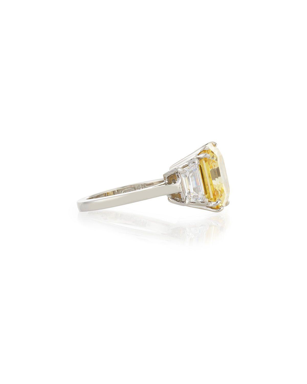 Fantasia Canary Asscher Cubic Zirconia Ring, 13.00 TCW