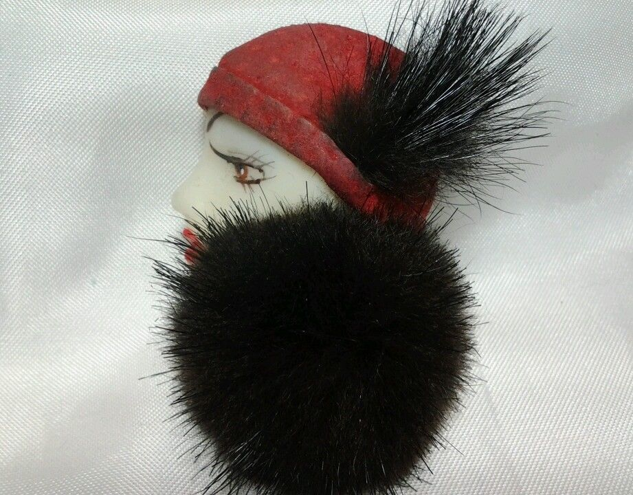 Vintage Art Deco Flapper Lady Scarf Black Fur Mink Shirt Coat Red Hat Brooch Pin #Unbranded