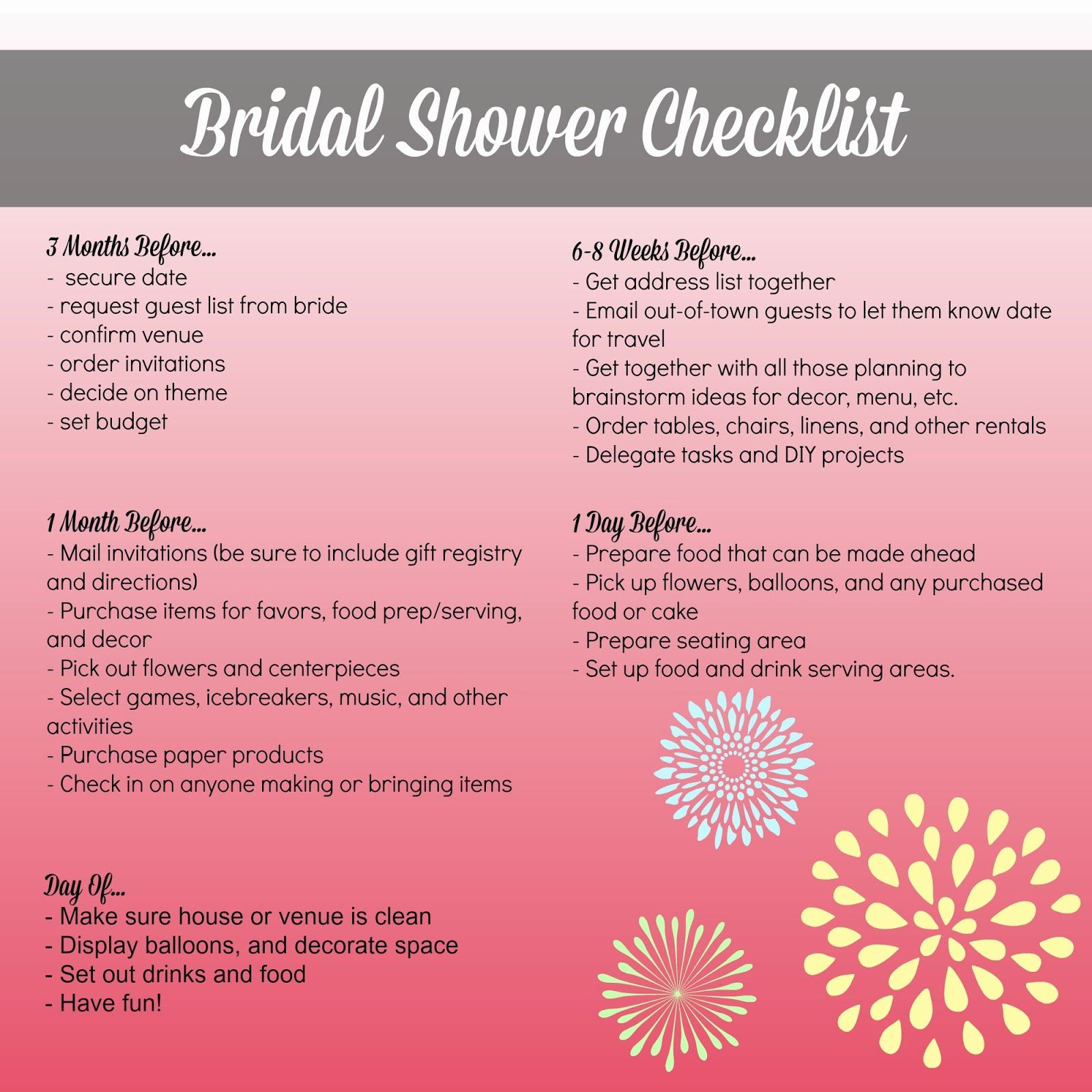 bridal shower checklist for the bride and bridesmaids monthly to do list for the bridal