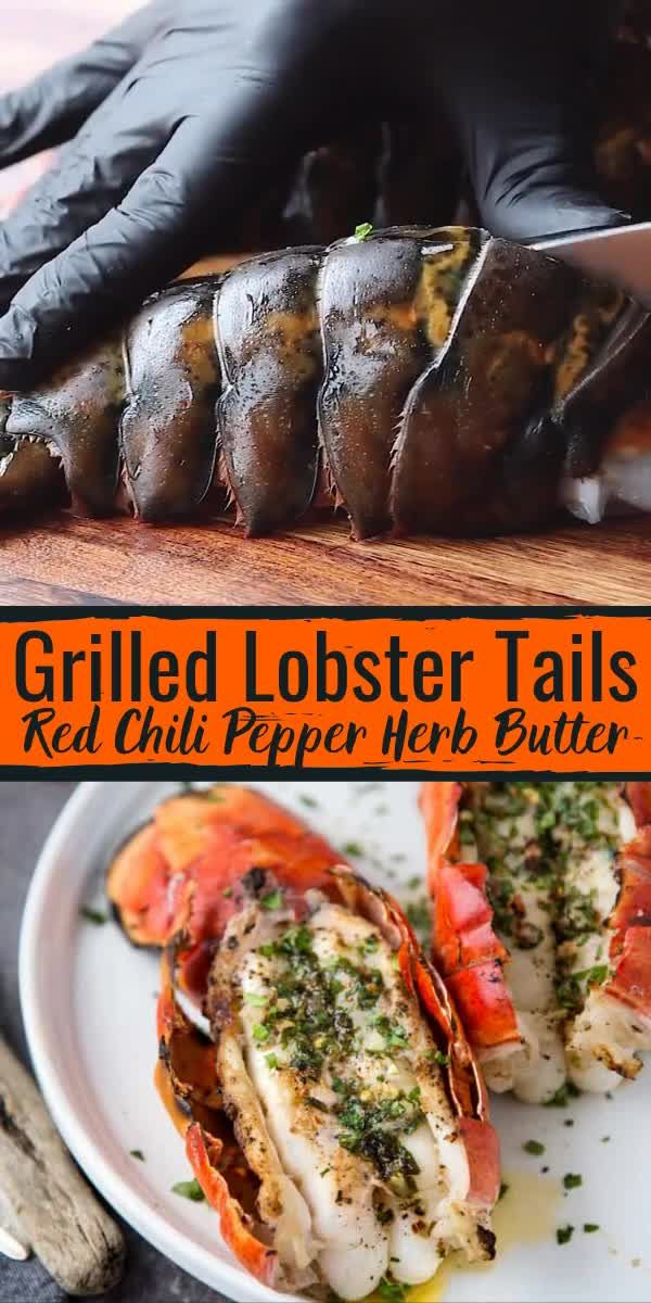 Grilled Lobster Tail with Red Chili Pepper Herb Butter