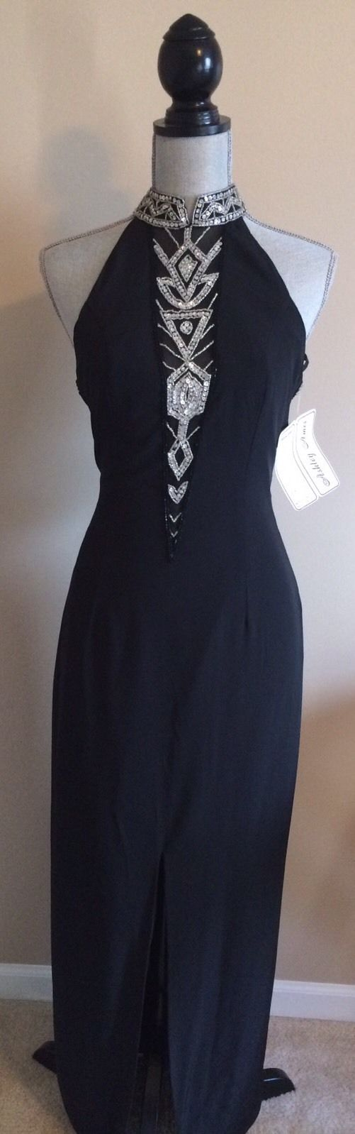 Cool awesome ashley ames long formal black sequin dress sz