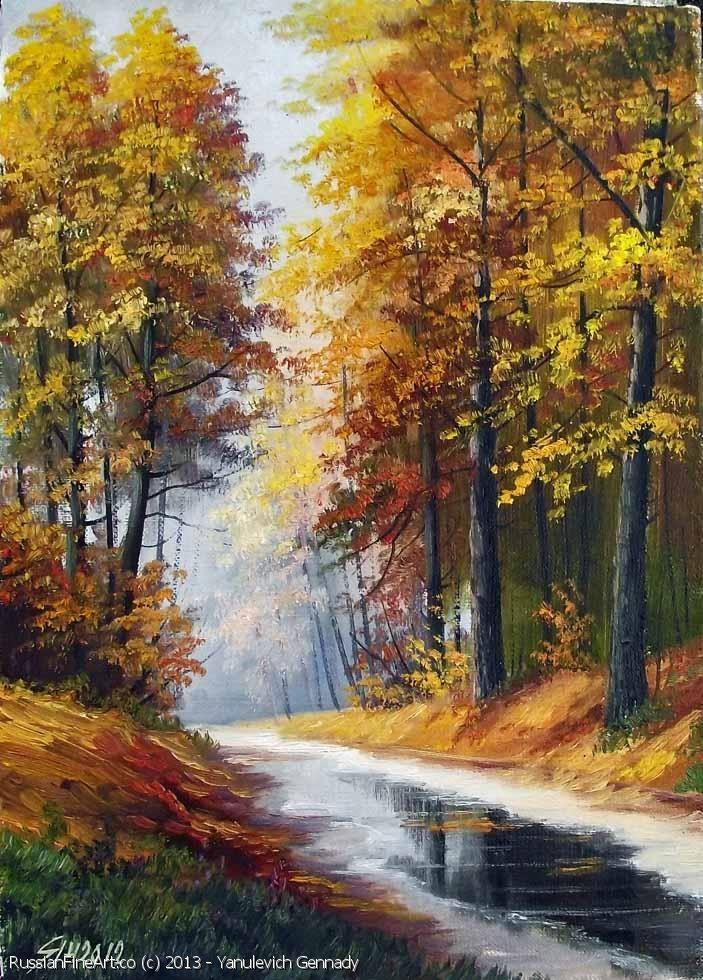 The Autumn In The Park Oil Canvas Resim Sanati Resimler Manzara Resimleri
