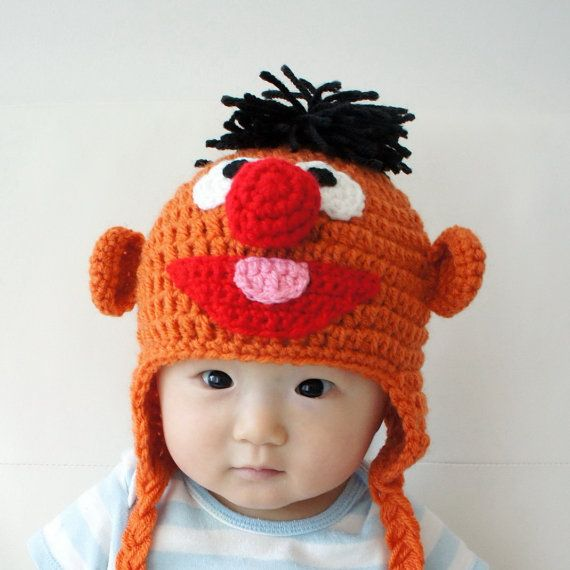 Handmade Baby hat Toddler crochet Hats,Ernie Muppet Hat Crochet ...