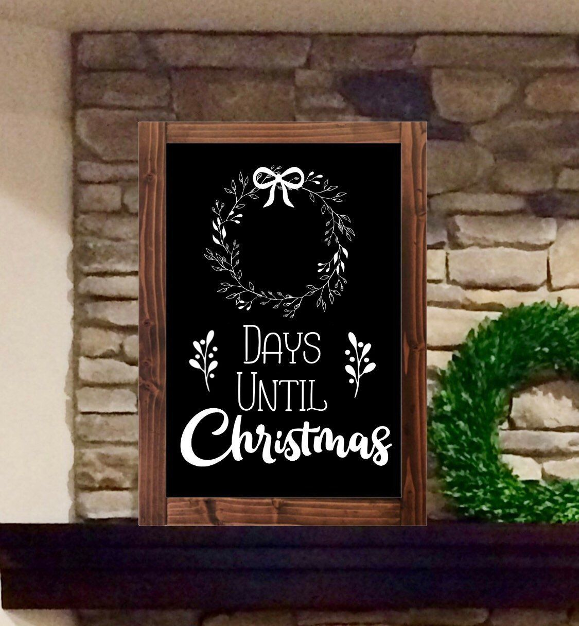 Days Till Christmas Chalkboard.Christmas Countdown Chalkboard Sign Advent Calendar By
