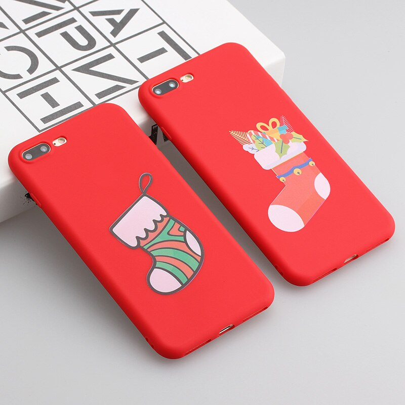 Phone Case For Iphone 5 5s 6 6s 7 8 Plus X Xs Max Xr Soft Tpu Silicon Cute Red Back Cover Stockings Patterned Christmas Gift Iphone Cases Iphone 6 Plus Case Iphone 5
