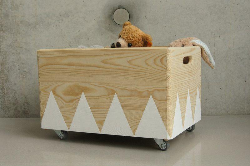 Kisten Boxen Holz Spielzeugkiste Rollen Triangel Skandinavisch
