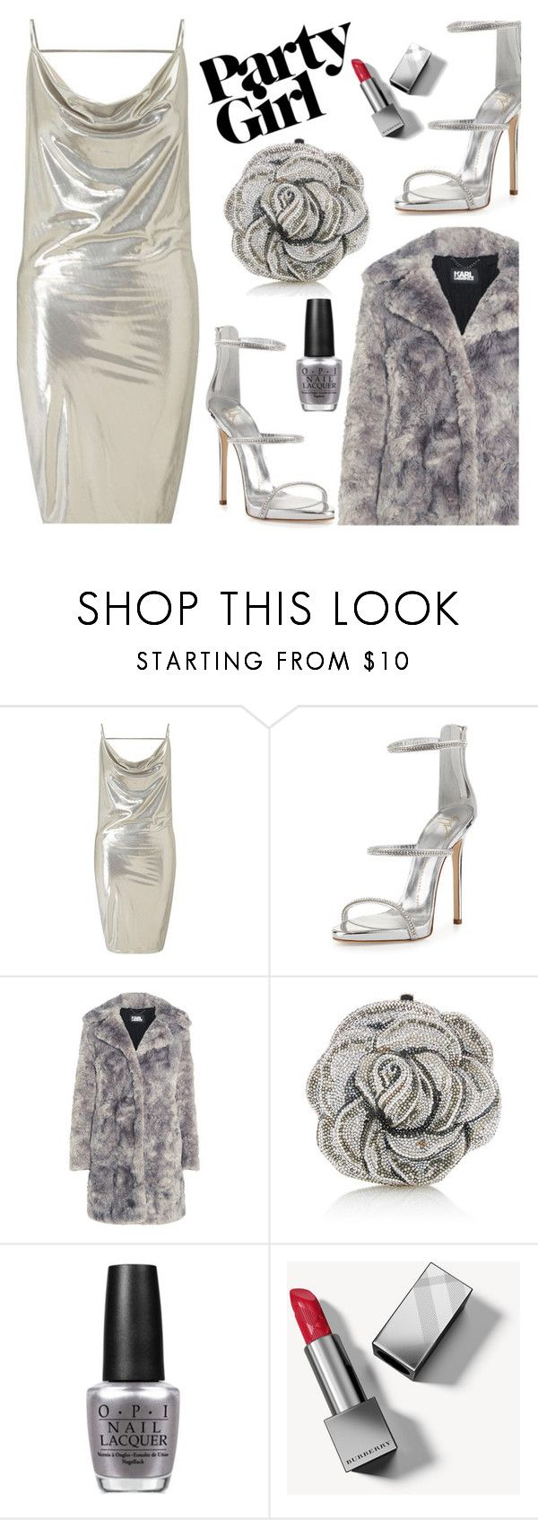 """""""New Year's Eve Party!!!"""" by razone ❤ liked on Polyvore featuring Miss Selfridge, Giuseppe Zanotti, Karl Lagerfeld, Judith Leiber, OPI and Burberry"""