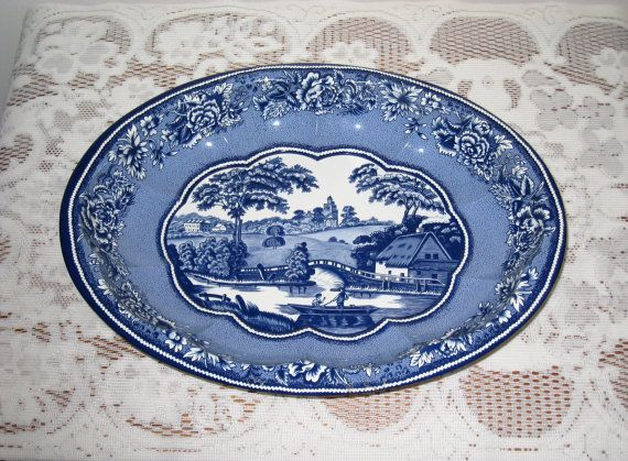 Daher Decorated Ware Tray Made In England Pleasing Daher Decorated Ware Oval Blue Willow Style Tin Tray  Metalware Inspiration