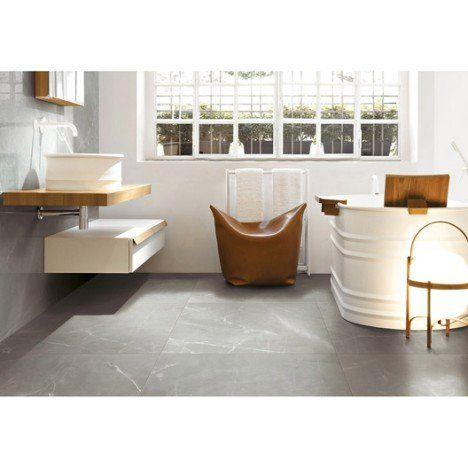 Carrelage sol et mur gris effet marbre Rimini l30 x L60 cm salle