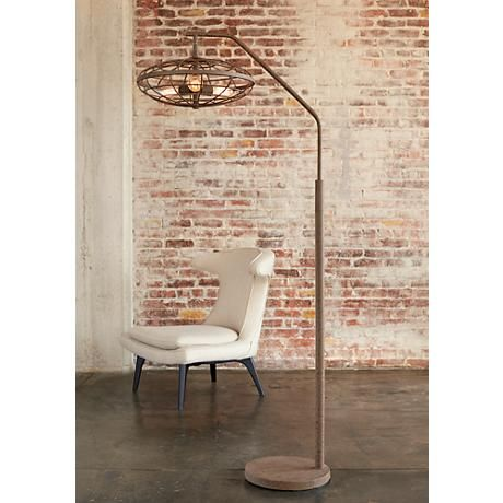 This Rust Cage Arc Floor Lamp Is Industrial Design Chic With