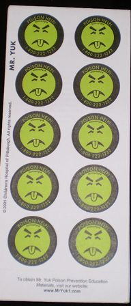 130 mr yuk stickers 13 sheets of 10 each make your home safer for
