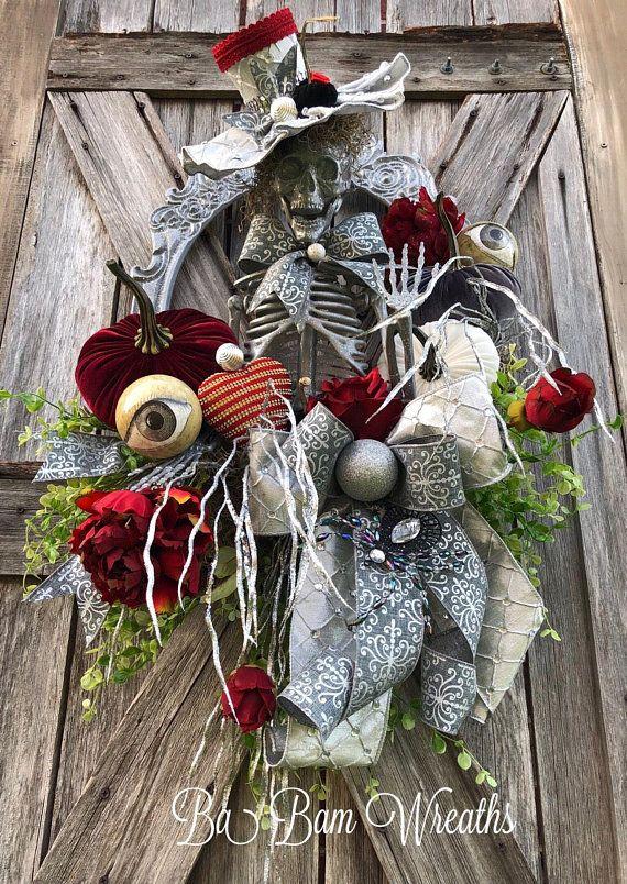 Mr Sexy Bones, Skeleton Wreath, Skeleton Decor, Halloween Wreath