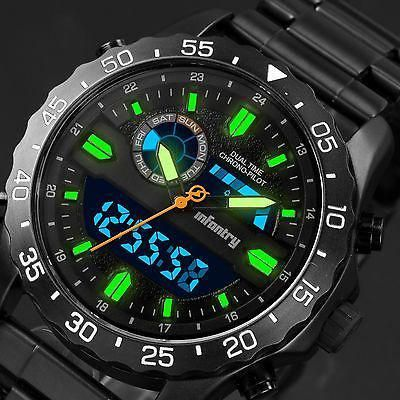 a73d8a2823d3 INFANTRY Mens LCD Digital Quartz Wrist Watch Date Stopwatch Alarm Sport  Military  MensFastionStyle