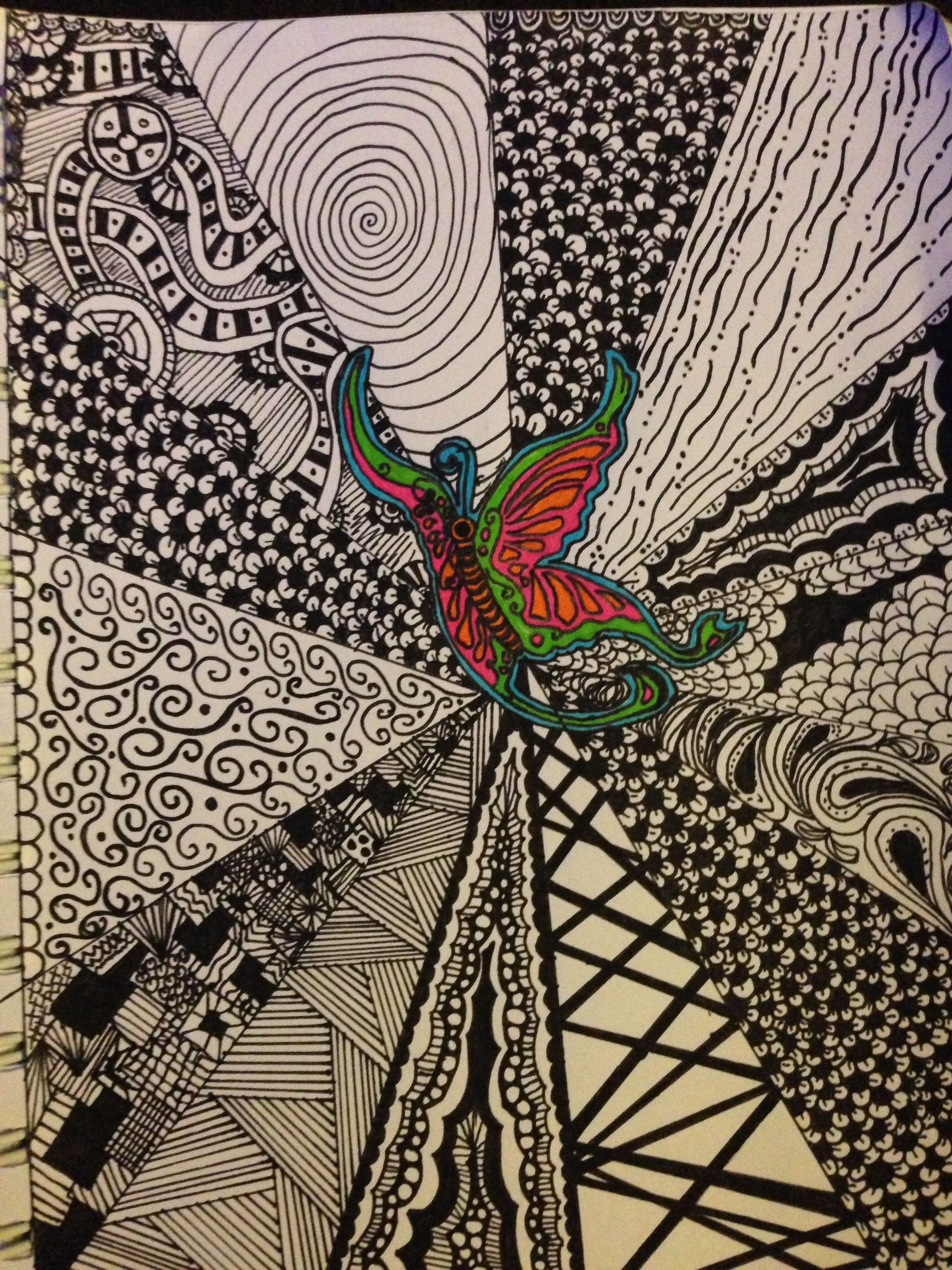 Butterfly Zentangle #2 For Lucy's Love Bus | Zentangle ...