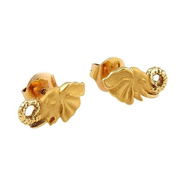 Pre-owned Carrera y Carrera 18K Yellow Gold Elephant Stud Earrings ($975) ❤ liked on Polyvore featuring jewelry, earrings, yellow gold earrings, yellow gold stud earrings, gold earrings, stud earring set and 18 karat gold earrings